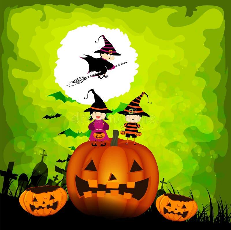 Halloween-jonge geitjespartij royalty-vrije illustratie