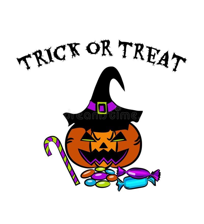 Halloween-K?rbis-Eimer mit S??igkeit, Bonbons und Lutschern ?berlagert, einfach zu bearbeiten vektor abbildung
