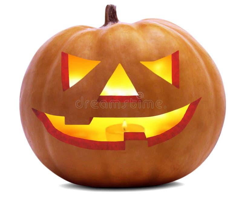 Halloween-Kürbis-furchtsames Gesicht wird über weißem und transparentem Hintergrund u. x28 lokalisiert; optionales png-file& x29; lizenzfreie stockbilder