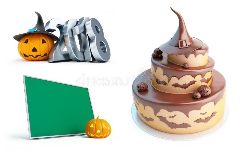 Halloween-Kürbis 2018, Halloween-Kuchen auf einer weißen Illustration des Hintergrundes 3D, Wiedergabe 3D stock abbildung