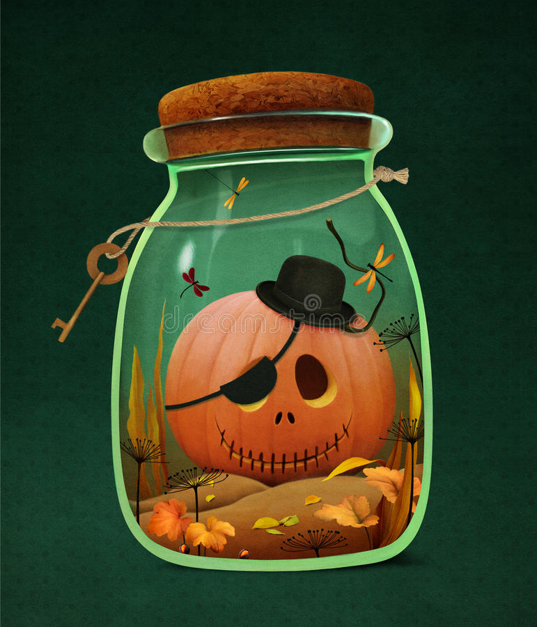 Halloween-Kürbis im Glas stock abbildung