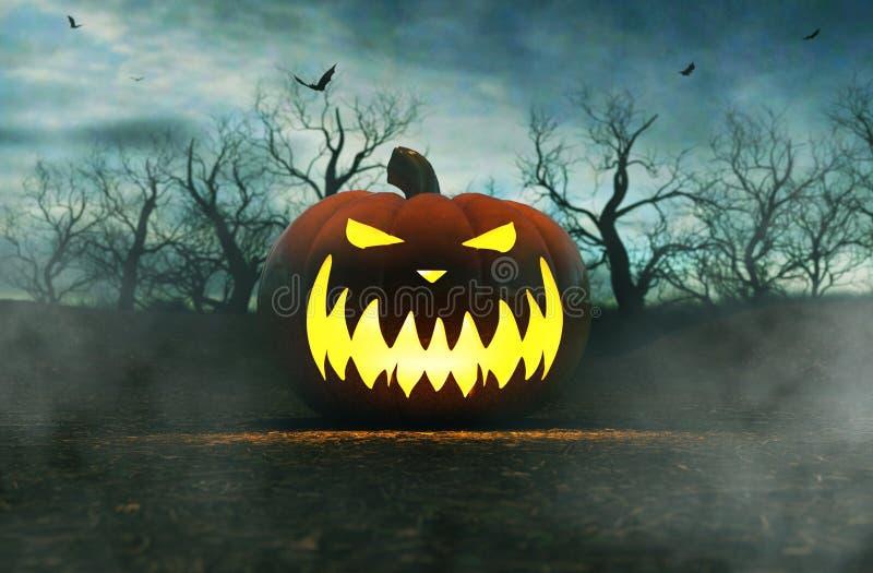 Halloween-Kürbis im gruseligen Wald nachts lizenzfreie abbildung