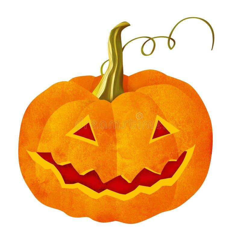 Halloween-Kürbis lokalisiert mit auf weißem Hintergrund stock abbildung