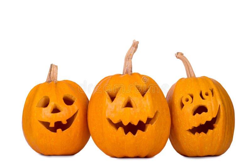 Halloween-Kürbis, lustiges Gesicht drei lokalisiert auf weißem Hintergrund lizenzfreie stockfotos