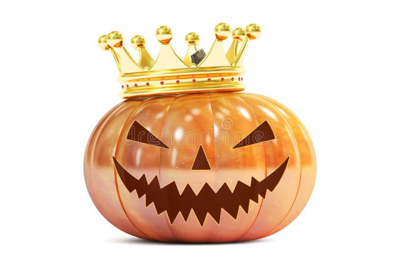 Halloween-Kürbis mit goldener Krone, Wiedergabe 3D vektor abbildung