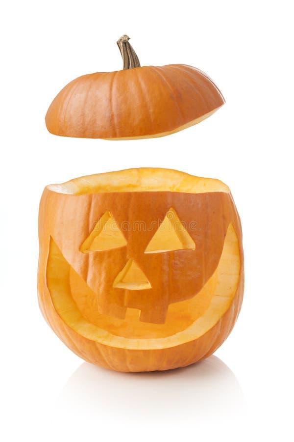Halloween-Kürbis mit Kappe weg lizenzfreie stockfotografie