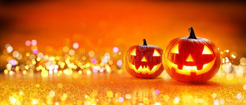 Halloween-Kürbis mit Lichtern lizenzfreies stockbild