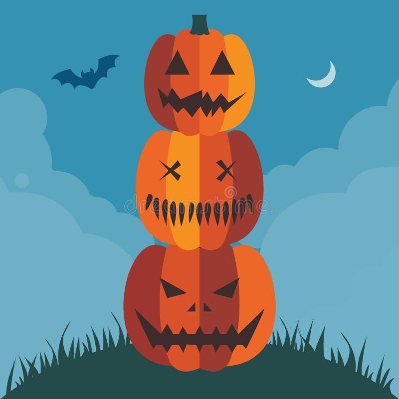 Halloween-Kürbis-Pyramiden-Plakat oder Karten-Schablone vektor abbildung