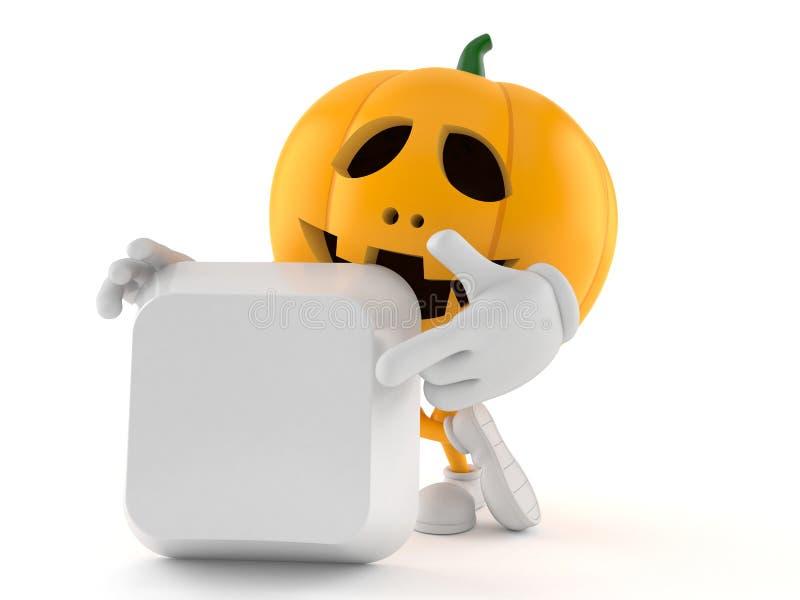 Halloween-Kürbischarakter mit leerem Tastaturknopf vektor abbildung