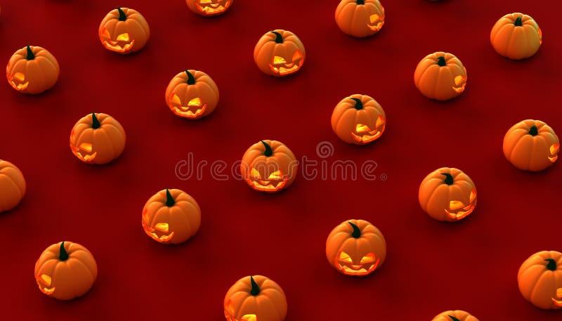 Halloween-Kürbise auf einem roten Hintergrund cgi 3D lizenzfreie stockfotografie