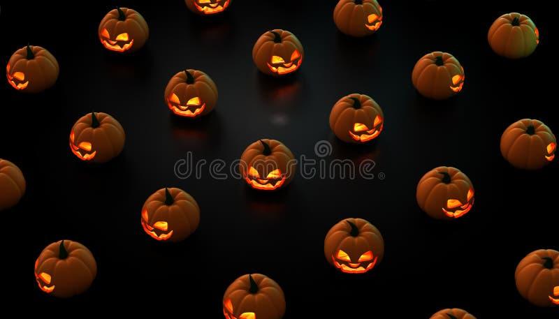 Halloween-Kürbise auf einem schwarzen Hintergrund cgi 3D stockbilder