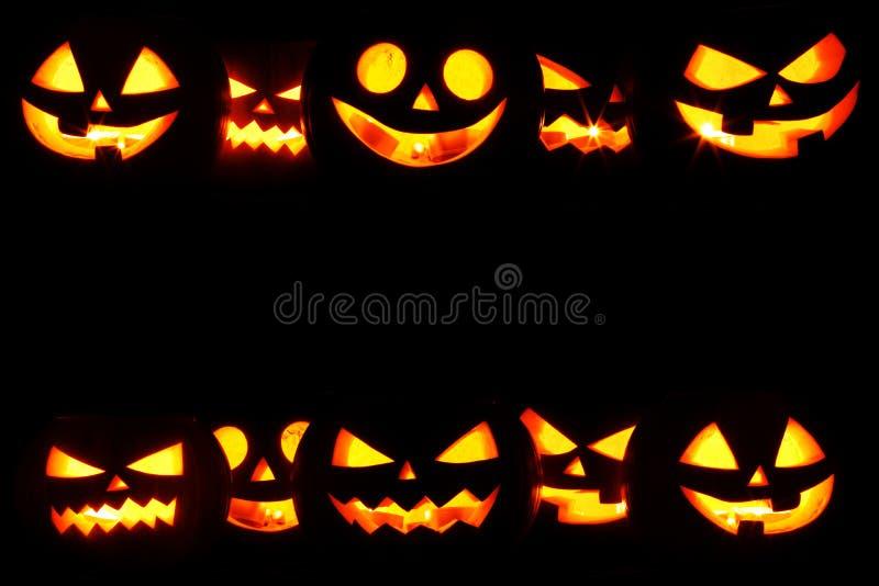 Halloween-Kürbise auf Schwarzem stockbilder