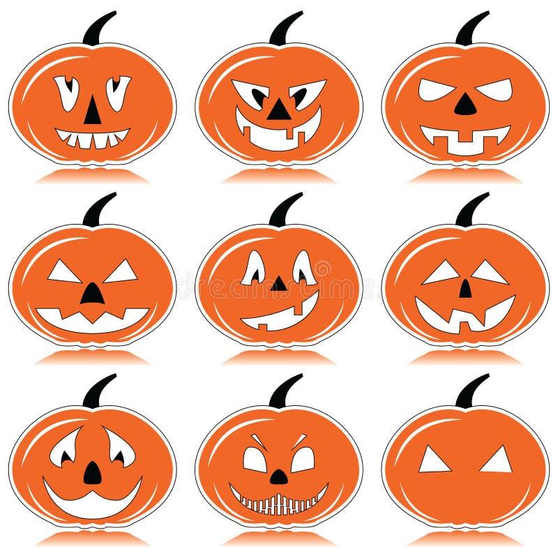 Halloween-Kürbise in der Orange, Schwarzweiss mit Schattenelement lizenzfreie abbildung