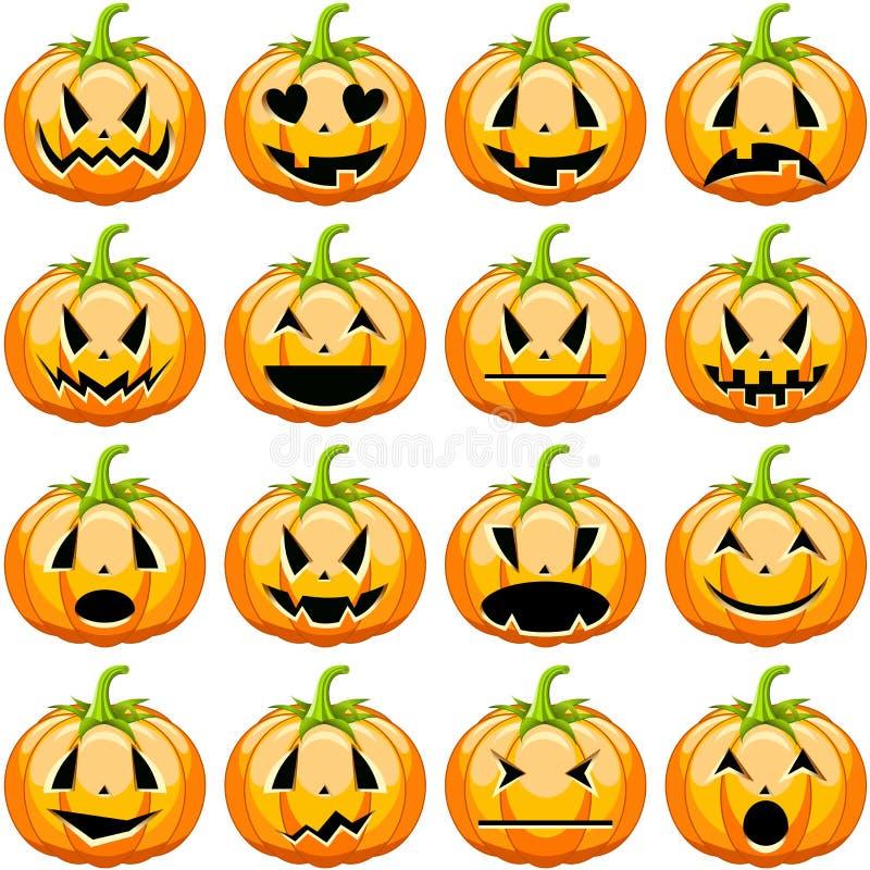 Halloween-Kürbise eingestellt stock abbildung