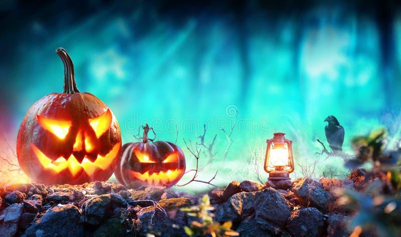 Halloween-Kürbise in gespenstischem Forest With Lantern lizenzfreie stockfotografie