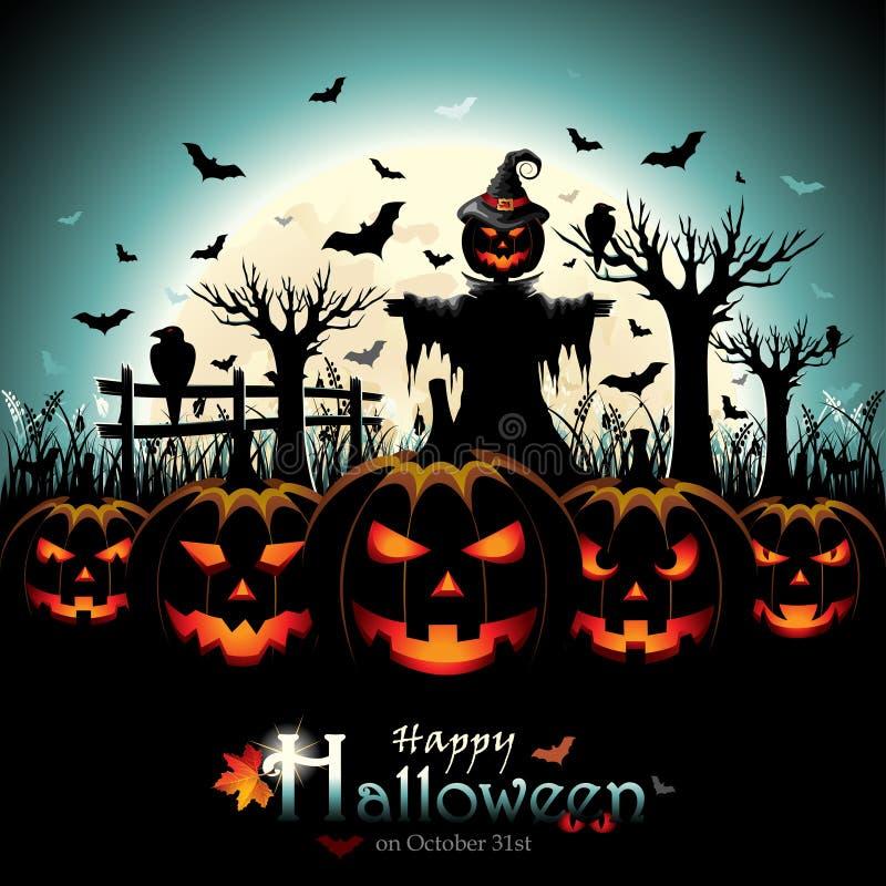 Halloween-Kürbise mit Vogelscheuche vor Vollmond vektor abbildung