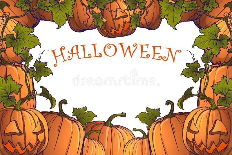 Halloween-Kürbise, Steckfassung O ` Laterne und großer Kessel stock abbildung