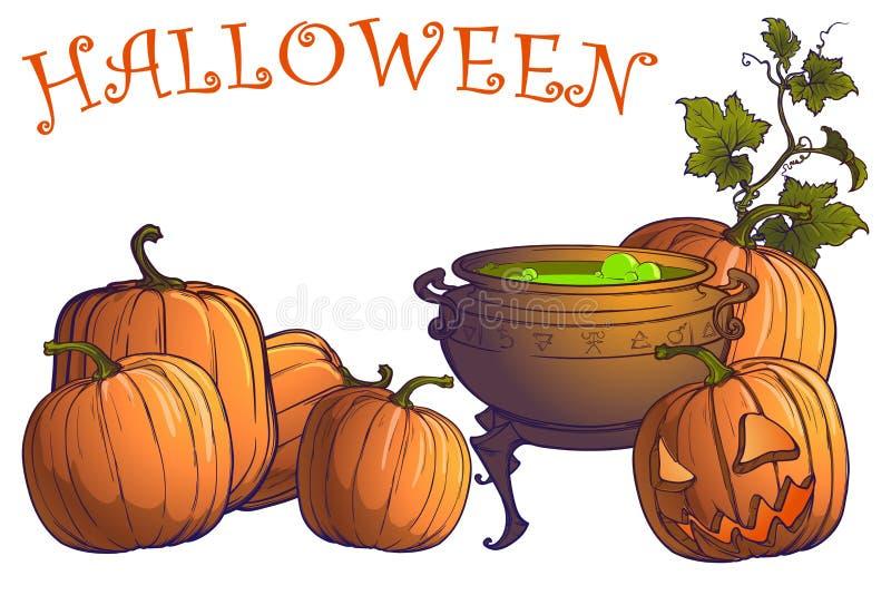 Halloween-Kürbise, Steckfassung O ` Laterne und großer Kessel mit Zaubertrank vektor abbildung