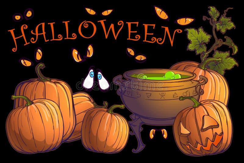 Halloween-Kürbise, Steckfassung O ` Laterne und großer Kessel mit Zaubertrank auf einem schwarzen Hintergrund Postkarte oder ande stock abbildung