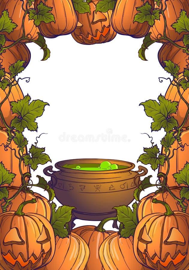 Halloween-Kürbise, Steckfassung O ` Laterne und großer Kessel mit Zaubertrank auf einem weißen Hintergrund Postkarte oder andere  vektor abbildung
