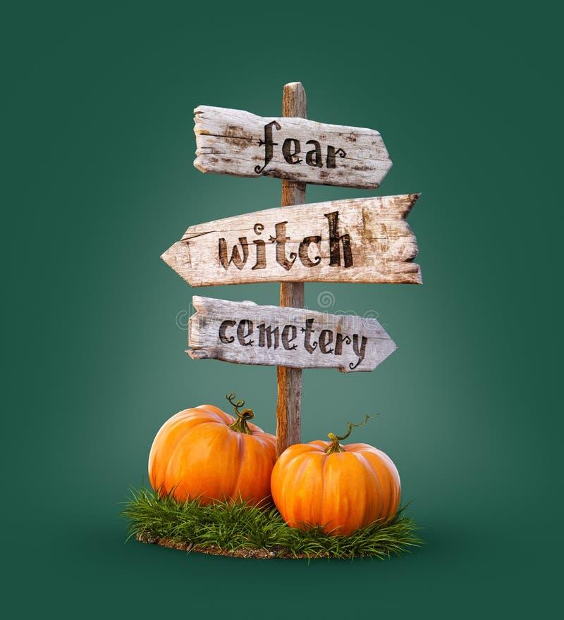 Halloween-Kürbise unter altem hölzernem Zeiger Ungew?hnliche Illustration 3d Ein grimmiger Minireaper, der eine Sense anh?lt, ste lizenzfreie abbildung