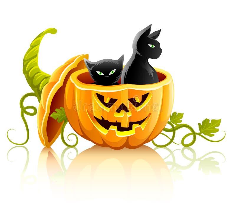 Halloween-Kürbisgemüse mit schwarzen Katzen lizenzfreie abbildung