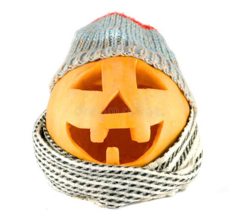 Halloween-Kürbisgesicht mit Hut und Schal stockfoto