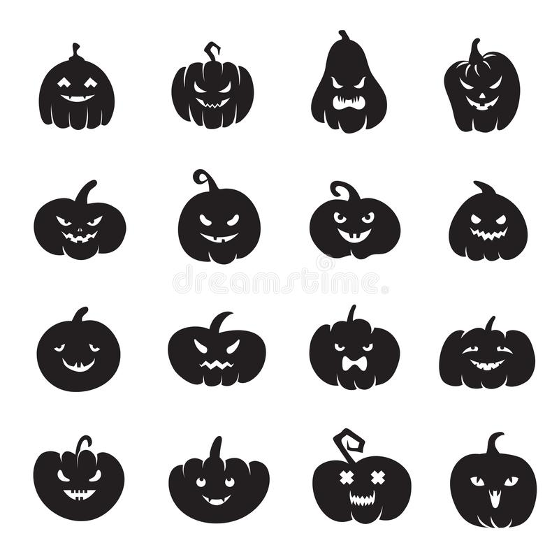 Halloween-Kürbisgesichter Furchtsame Kürbise blutig mit schlechtem Lächeln und Augen lizenzfreie abbildung