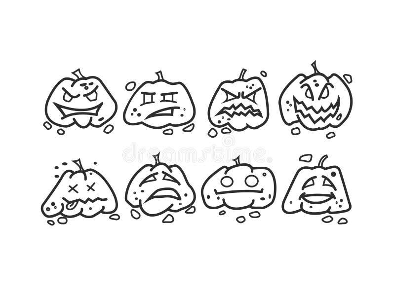 Halloween-Kürbisikonen cet lizenzfreie stockfotos