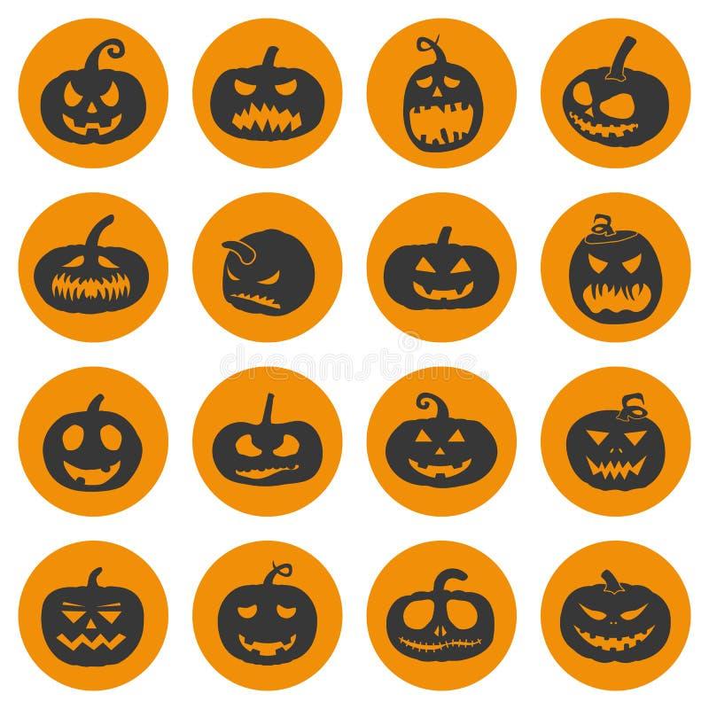 Halloween-Kürbisikonen eingestellt, Vektorillustration lizenzfreie abbildung