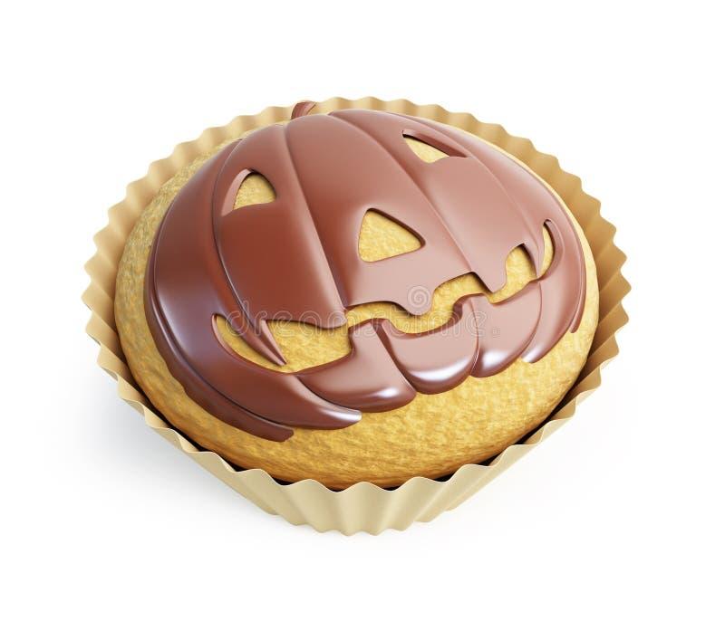 Halloween-Kürbiskleiner kuchen lizenzfreie abbildung