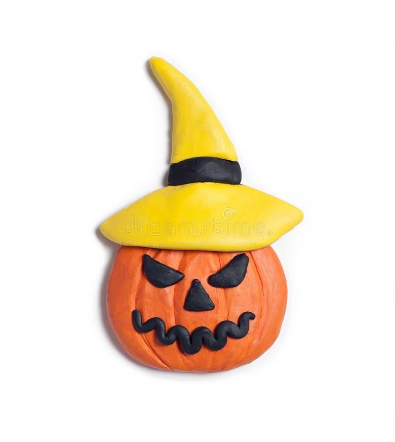 Halloween-Kürbiskopf-Steckfassungslaterne hergestellt vom Plasticine stockfoto