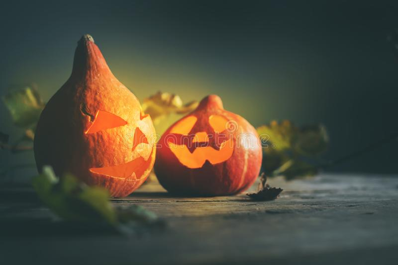 Halloween-Kürbiskopfsteckfassung verlässt hölzern stockfotos