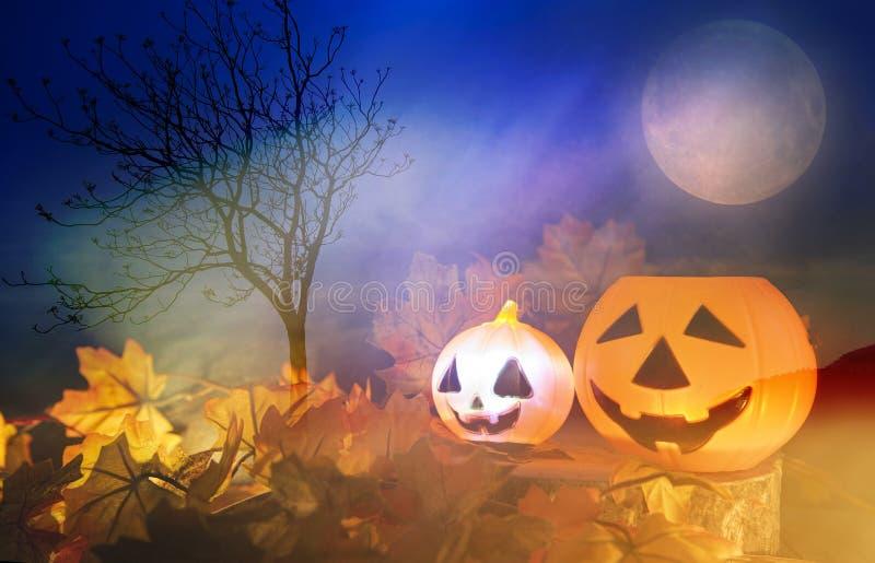 Halloween-Kürbislaterne mit trockenem Blattherbst auf Freien mit Baum und Vollmond - Hauptlaternenübel der steckfassung O stellt  lizenzfreie stockfotos