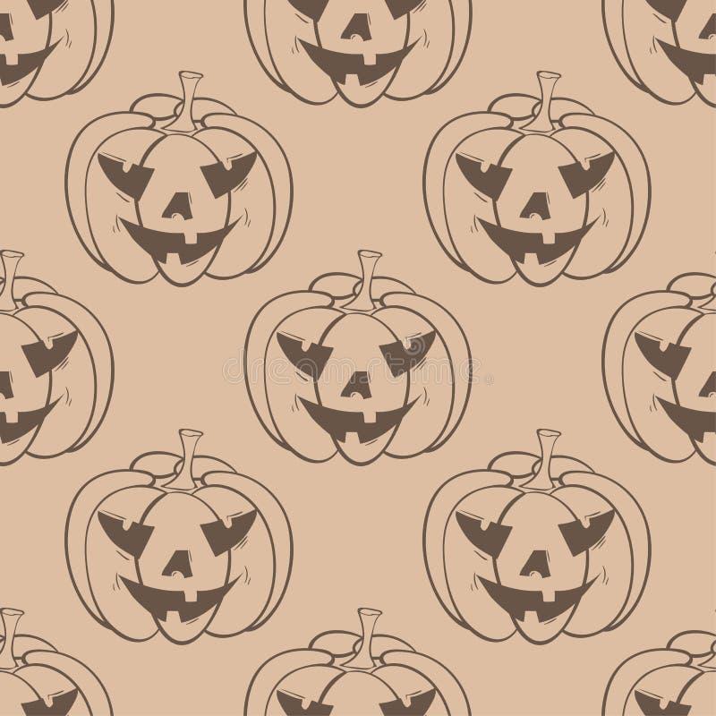 Halloween-Kürbismuster Beige nahtloser Hintergrund Browns lizenzfreie abbildung