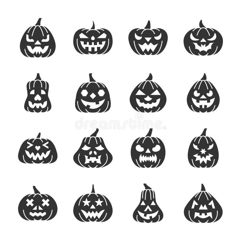 Halloween-Kürbisschwarzschattenbild-Ikonensatz vektor abbildung