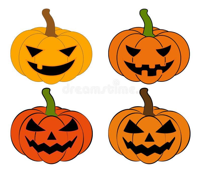 Halloween-Kürbisvektor-Illustrationssatz, Laterne Jacks O lokalisiert auf weißem Hintergrund Furchtsames orange Bild mit Augen stock abbildung