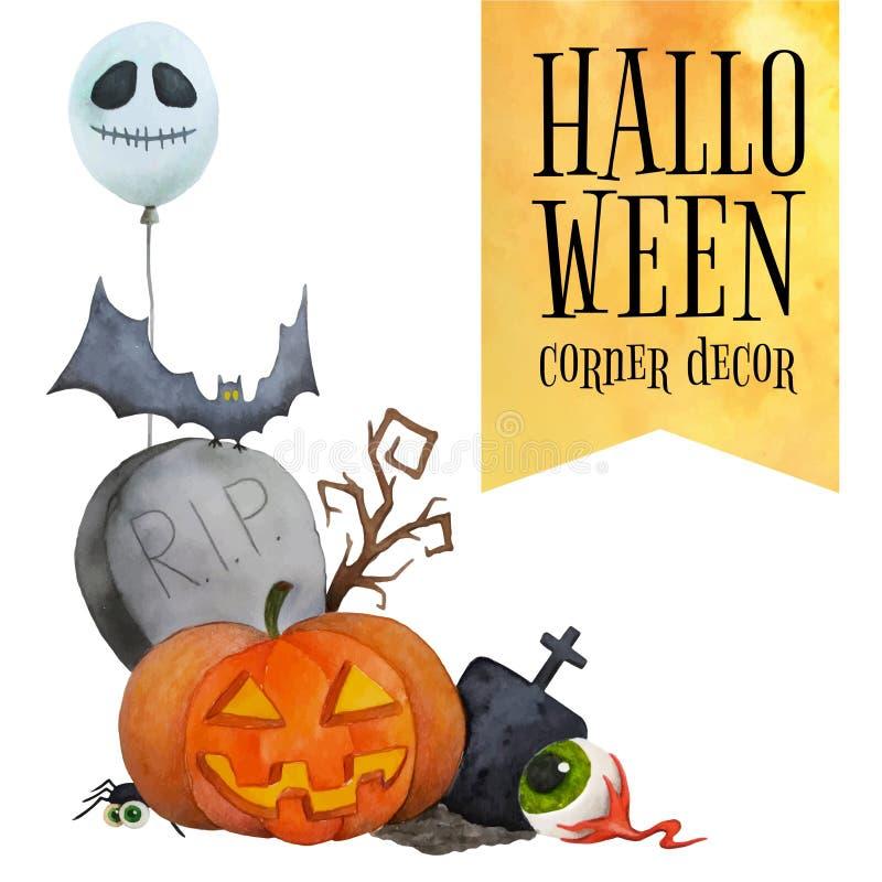 Halloween kąta wystrój dla kart i plakatów ilustracji