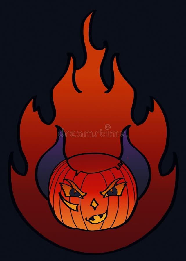 Halloween-K?rbis auf Feuerhintergrund stock abbildung