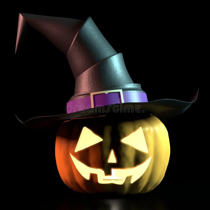 Halloween-K?rbis-tragender Hexen-Hut stock abbildung