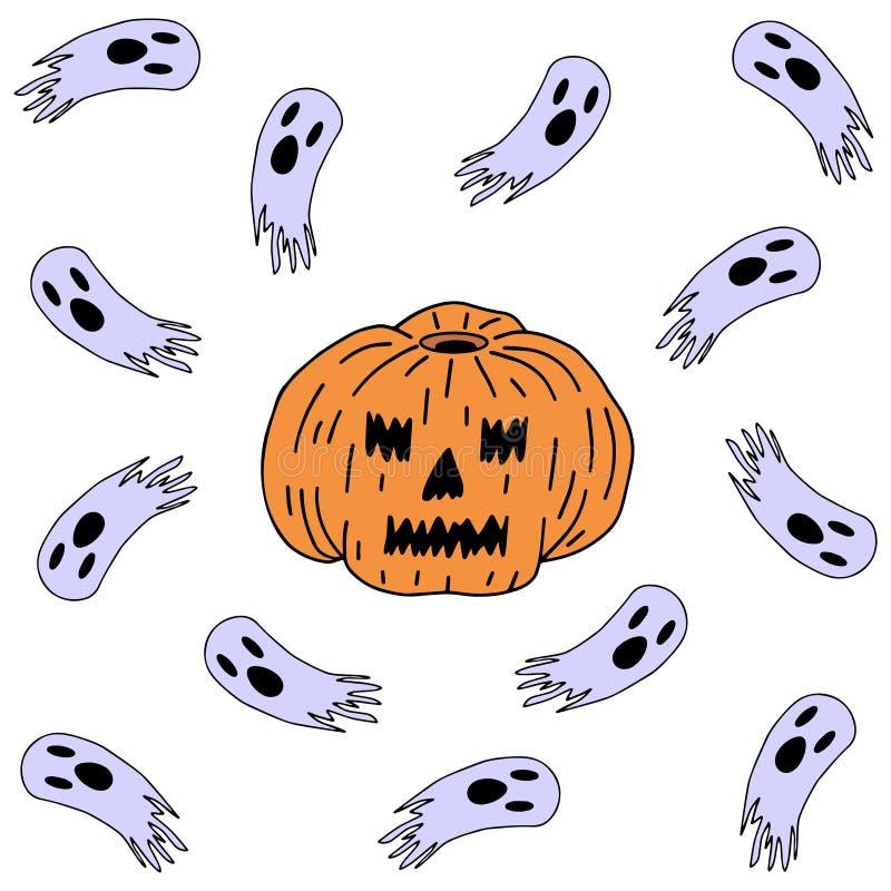Halloween K?rbis und Geister stock abbildung