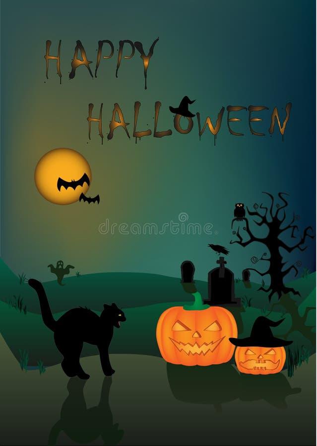 Halloween-kaart boze zwarte kat en twee pompoenen op de donkere nachtachtergrond vector illustratie