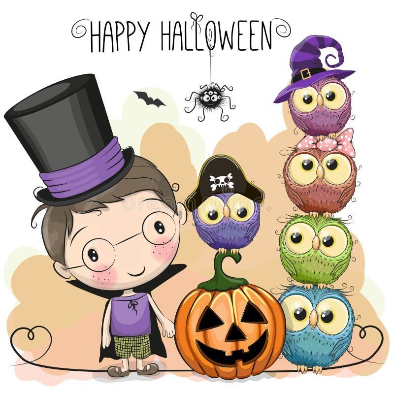 Halloween-kaart met jongen en uilen vector illustratie