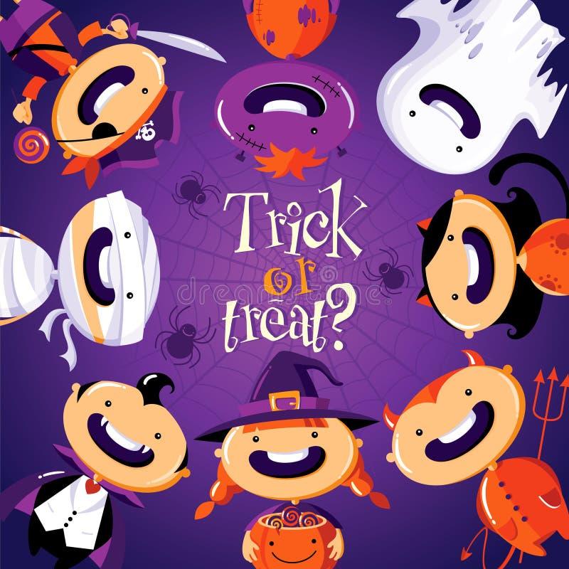 Halloween-kaart met leuke beeldverhaalkinderen in kleurrijke kostuums vector illustratie