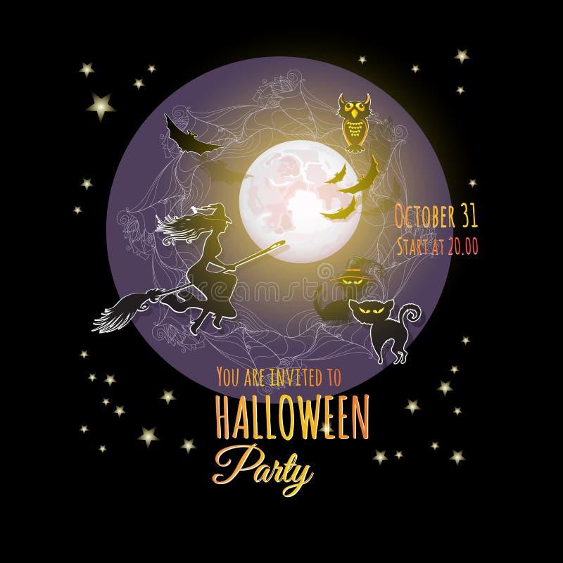 Halloween-kaart met Maan, heks, uil, knuppel, katten vector illustratie