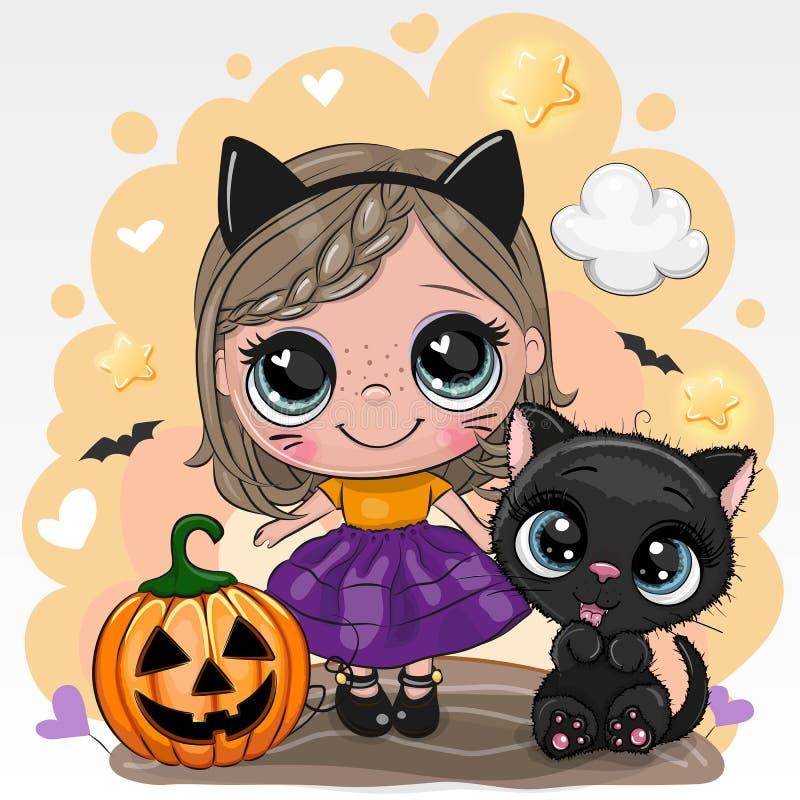 Halloween-kaart met meisje en zwarte kat op een gele achtergrond royalty-vrije illustratie