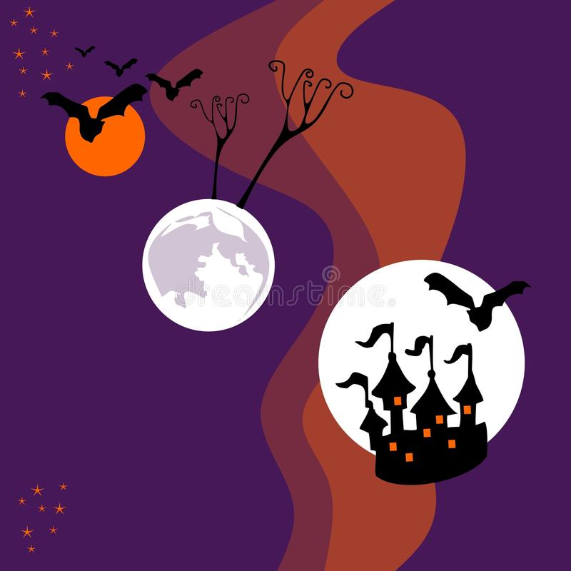 Halloween-kaart met planeten in ruimte stock illustratie