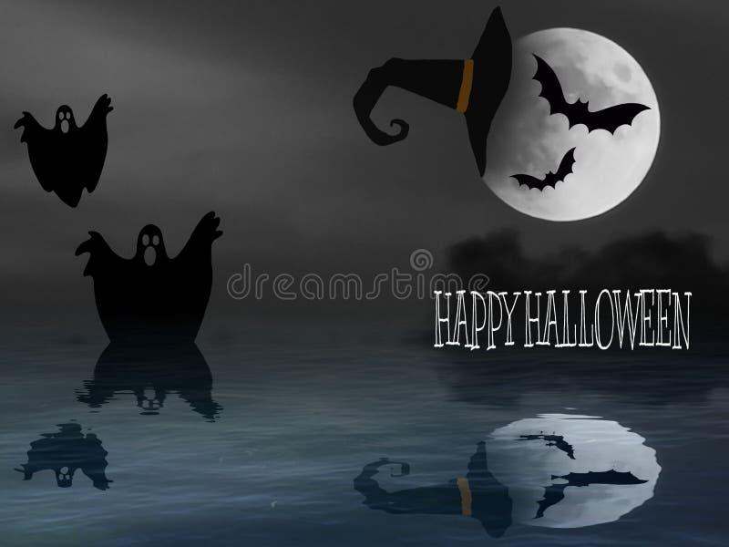 Halloween-kaart met spook en heks royalty-vrije illustratie
