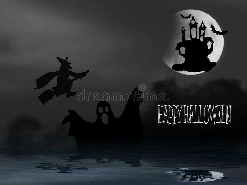 Halloween-kaart met spook en heks stock illustratie