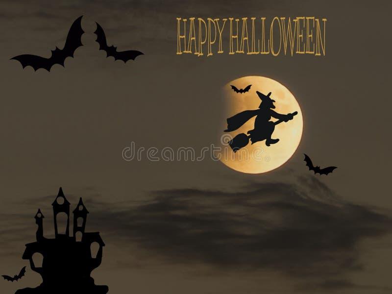 Halloween-kaart met spook en heks vector illustratie